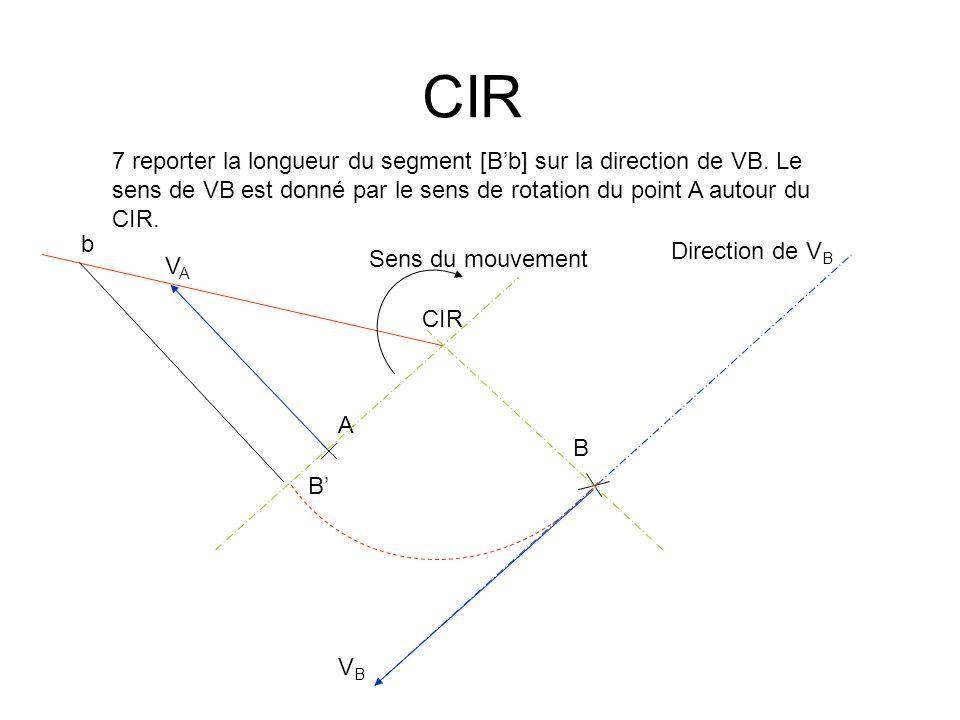 CIR 7 reporter la longueur du segment [B'b] sur la direction de VB. Le sens de VB est donné par le sens de rotation du point A autour du CIR.